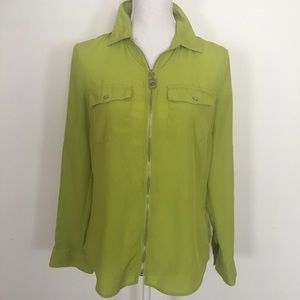 Michael Kors Lime Green Full Zip Silver Accent Top